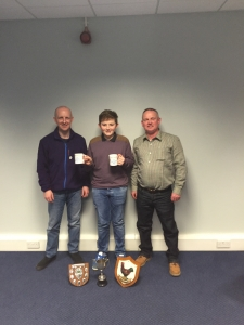 2016 Club Show. Best Junior. John Crowther collecting his prizes from President, John Cumming & Secretary, Kevin Gardiner